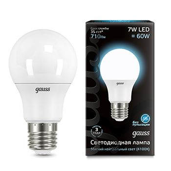 Лампа светодиодная Gauss LED A60 7W E27 4100K(102502207)