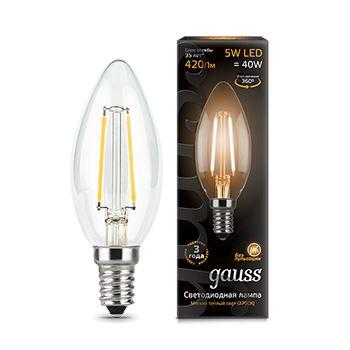 Лампа светодиодная Gauss LED Filament Candle 5W E14 2700K(103801105)