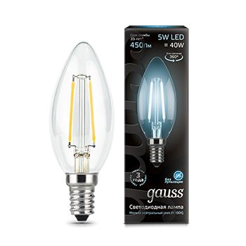 Лампа светодиодная Gauss LED Filament Candle 5W E14 4100K(103801205)