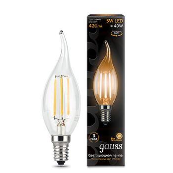 Лампа светодиодная Gauss LED Filament Candle Tailed 5W E14 2700K(104801105)