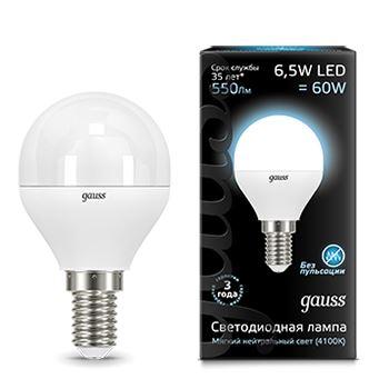 Лампа светодиодная Gauss LED Globe G45 6.5W E14 4100K(105101207)