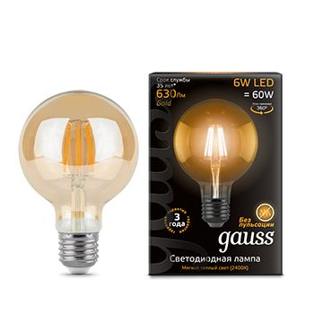 Лампа светодиодная Gauss LED Filament G95 6W E27 2400K(105802006)