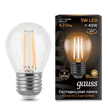 Лампа светодиодная Gauss LED Filament Globe 5W E27 2700K(105802105)