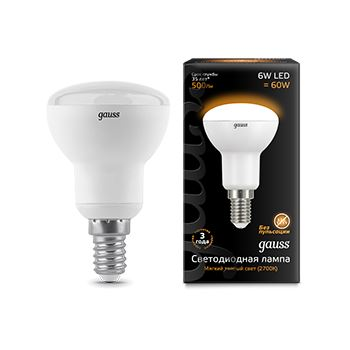 Лампа светодиодная Gauss LED R50 6W E14 2700K(106001106)