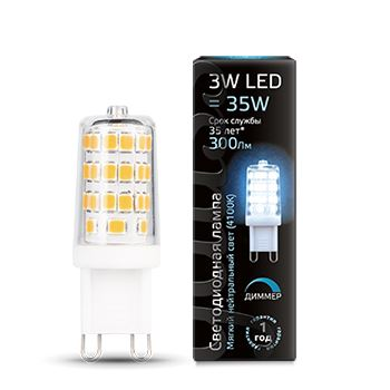 Лампа светодиодная Gauss LED G9 Dimmable 3W 4100K(107309203)