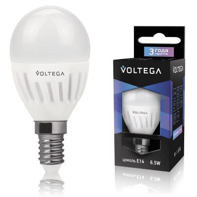 Лампа светодиодная Voltega Ceramics LED Шар 6.5W E14 4000K