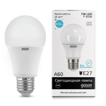 Лампа светодиодная Gauss LED Elementary A60 7W E27 4100K(23227A)