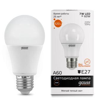 Лампа светодиодная Gauss LED Elementary A60 7W E27 2700K(23217A)