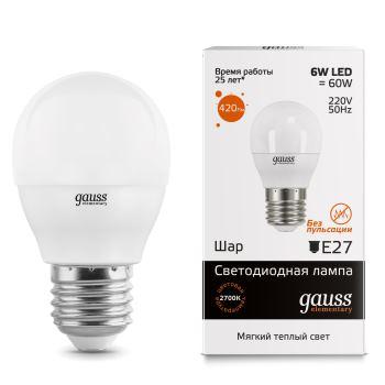 Лампа светодиодная Gauss LED Elementary Globe 6W E27 2700K(53216)