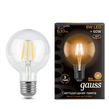 Лампа светодиодная Gauss LED Filament G95 6W E27 2700K(105802106)