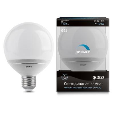 Лампа светодиодная Gauss LED Globe G95 Dimmable 14W E27 4100K(EB136102214-D)