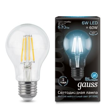 Лампа светодиодная Gauss LED Filament A60 6W E27 4100K(102802206)