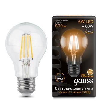 Лампа светодиодная Gauss LED Filament A60 6W E27 2700K(102802106)