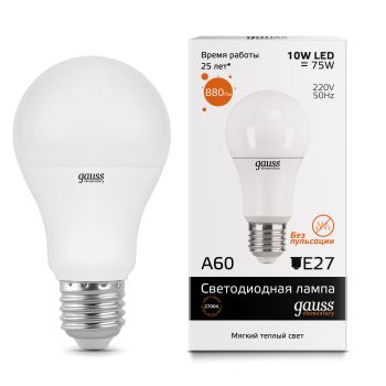 Лампа светодиодная Gauss LED Elementary A60 10W E27 2700K(23210)