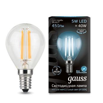 Лампа светодиодная Gauss LED Filament Globe 5W E14 4100K(105801205)