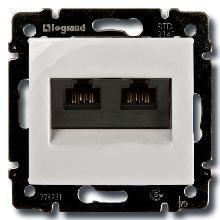 Розетка компьютерная двойная RJ45 UTP кат. 5е Legrand Valena белый