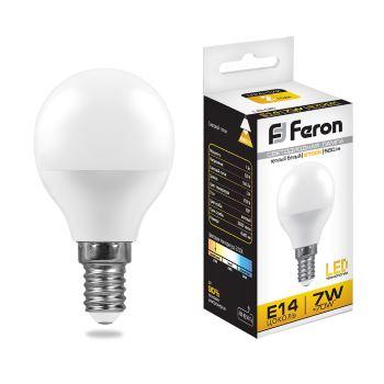 Лампа светодиодная Feron LB-95 G45 7W E14 2700K 25478