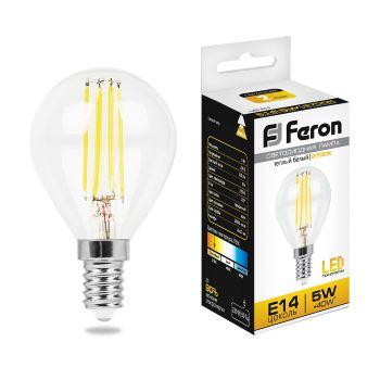 Лампа светодиодная Feron LB-61 филамент G45 5W E14 2700K 25578