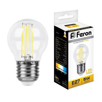 Лампа светодиодная Feron LB-61 филамент G45 5W E27 2700K 25581