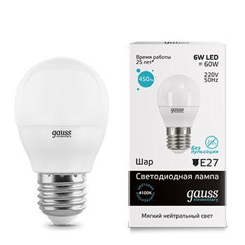 Лампа светодиодная Gauss LED Elementary Globe 6W E27 4100K(53226)