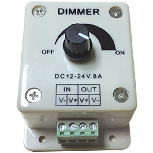 Контроллер Ecola LED strip Dimmer 8A 96W 12V   с винтовыми клеммами и ручкой для управления CDM08AESB