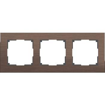 Рамка Werkel Aluminium 3 поста коричневый алюминий WL11-Frame-03