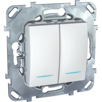 Выключатель двухклавишный с подсветкой Schneider Electric Unica 10A белый MGU5.0101.18NZD