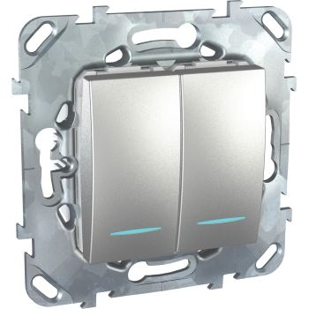 Выключатель двухклавишный с подсветкой Schneider Electric Unica Top 10A алюминий MGU5.0101.30NZD