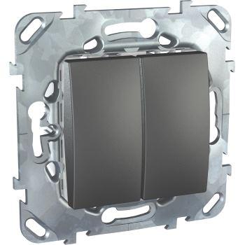 Выключатель двухклавишный Schneider Electric Unica Top 10A графит MGU5.211.12ZD