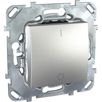 Выключатель одноклавишный двухполюсный Schneider Electric Unica Top 16A алюминий MGU5.262.30ZD