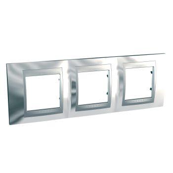 Рамка Schneider Electric Unica Top 3 поста хром/алюминий MGU66.006.010