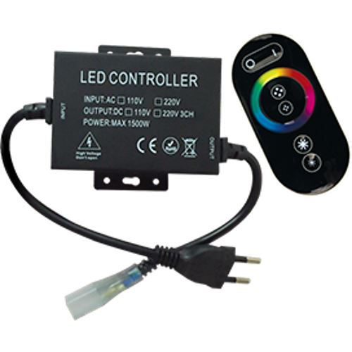 Контроллер Ecola LED strip 220V RGB RF controller (IP20) 1500W 6,6A для ленты 220V 16x8 IP68 с кольцевым сенсорным черным радиопультом RFB615KSB