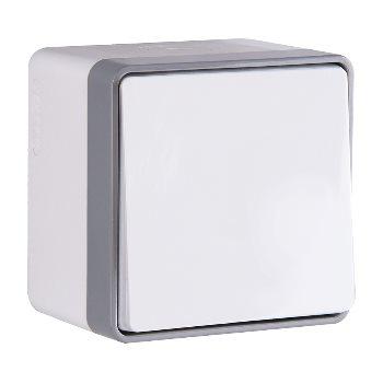 Выключатель одноклавишный накладной влагозащищенный IP44 Werkel Gallant белый WL15-01-02