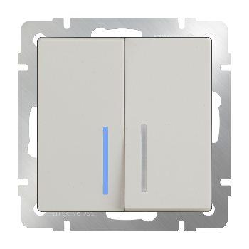 Выключатель двухклавишный с подсветкой Werkel слоновая кость WL03-SW-2G-LED-ivory