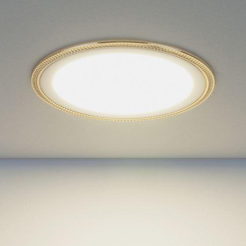 Встраиваемый светильник Elektrostandard DLR006 12W 4200K PS/G перламутровый серебро/золото